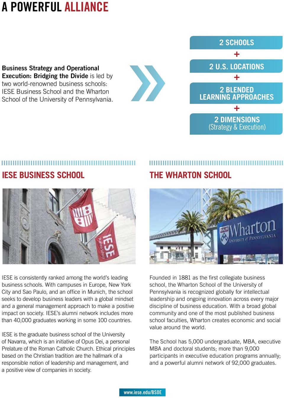 HOOLS + 2 U.S. LOCATIONS + 2 BLENDED LEARNING APPROACHES + 2 DIMENSIONS (Strategy & Execution) IESE BUSINESS SCHOOL THE WHARTON SCHOOL IESE is consistently ranked among the world s leading business schools.