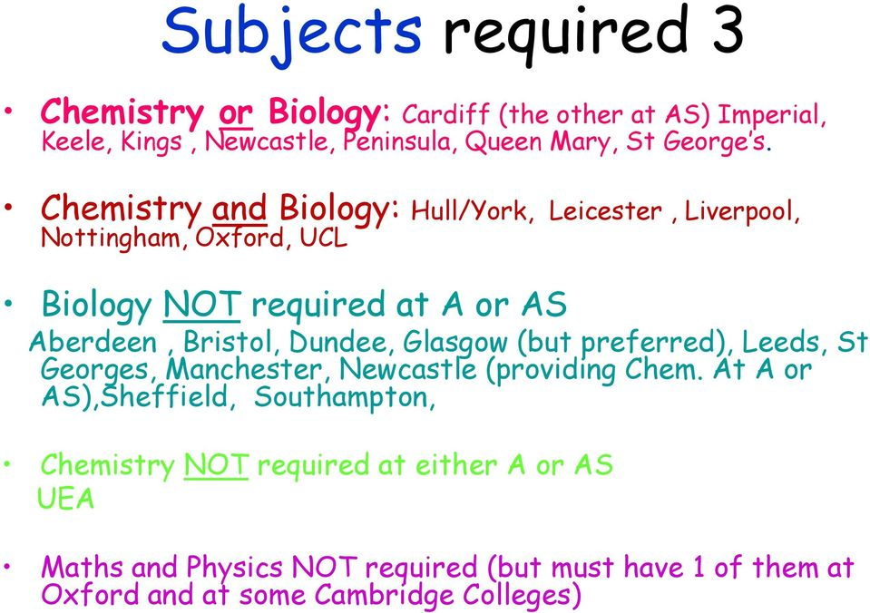 Chemistry and Biology: Hull/York, Leicester, Liverpool, Nottingham, Oxford, UCL Biology NOT required at A or AS Aberdeen, Bristol,