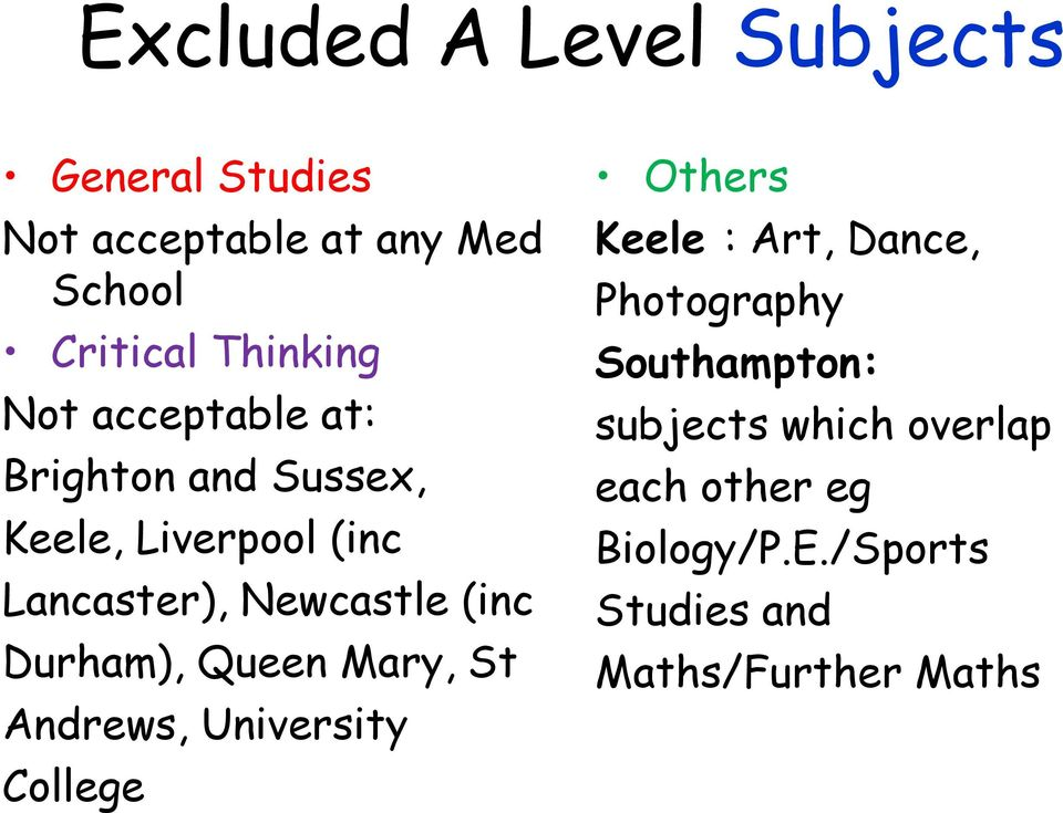 Durham), Queen Mary, St Andrews, University College Others Keele : Art, Dance, Photography
