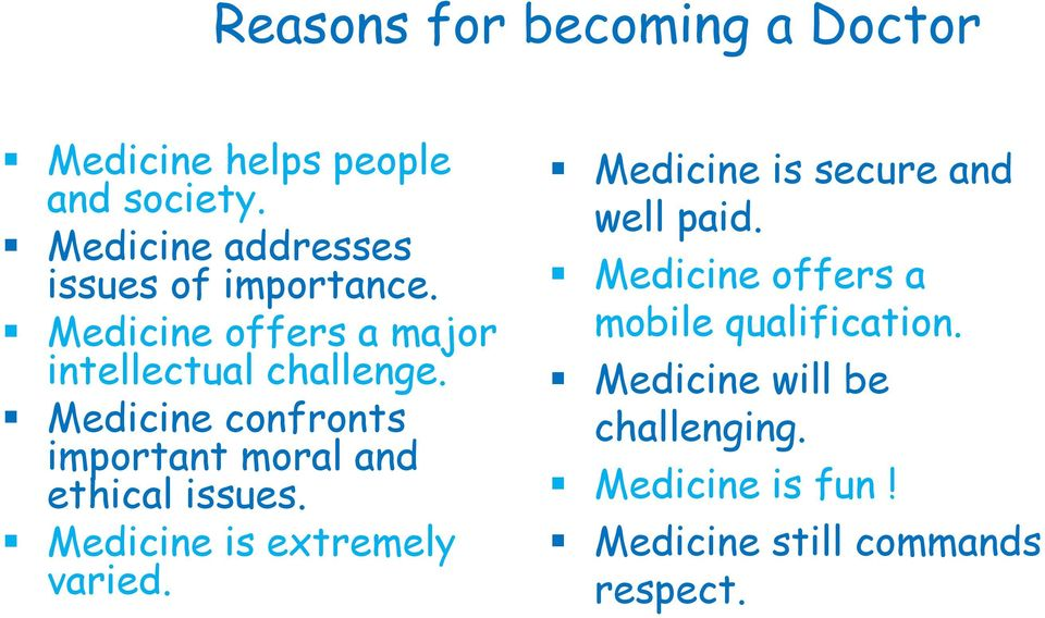 Medicine confronts important moral and ethical issues. Medicine is extremely varied.