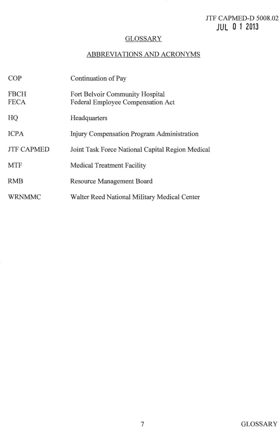 Compensation Program Administration Joint Task Force National Capital Region Medical Medical