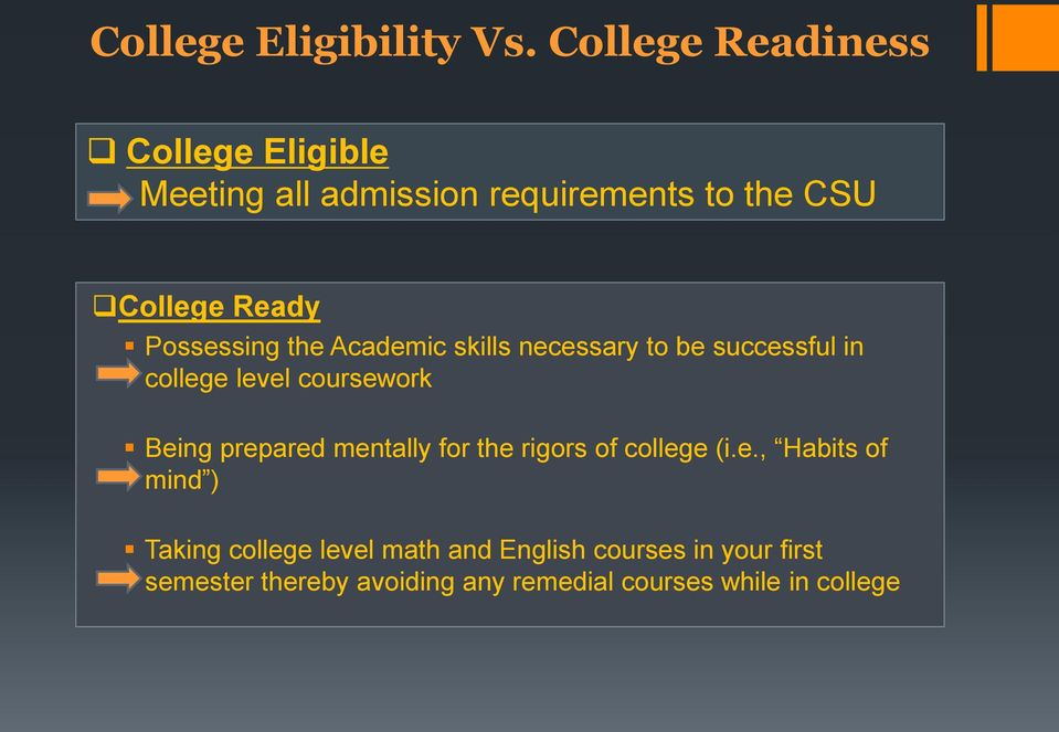 Possessing the Academic skills necessary to be successful in college level coursework Being prepared