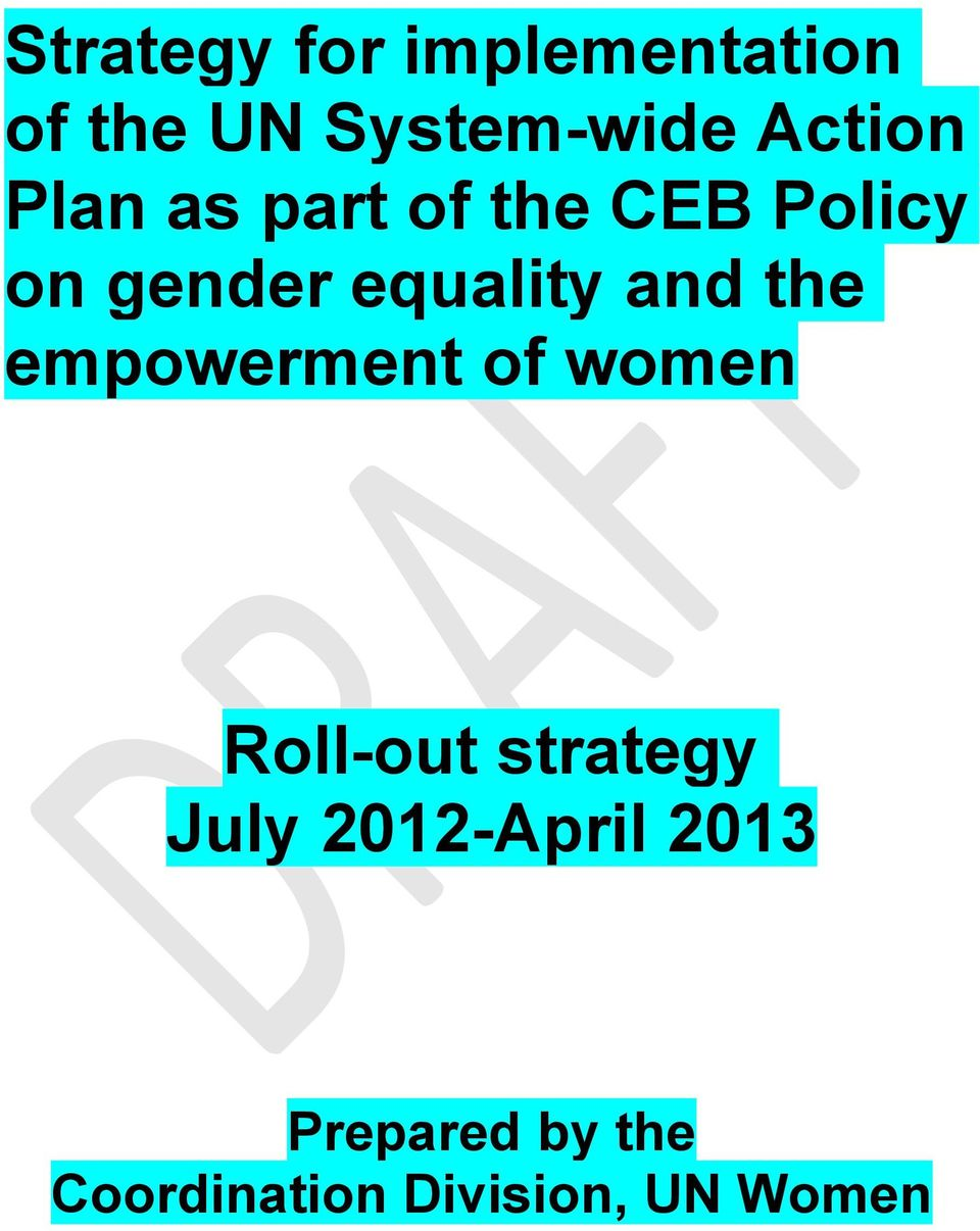 equality and the empowerment of women Roll-out strategy