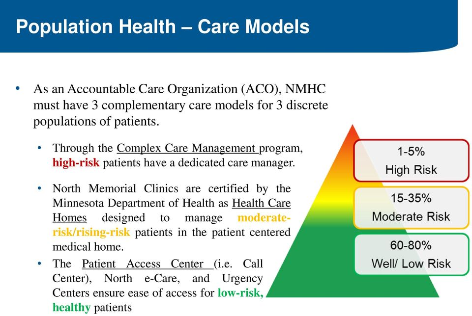 North Memorial Clinics are certified by the Minnesota Department of Health as Health Care Homes designed to manage moderaterisk/rising-risk