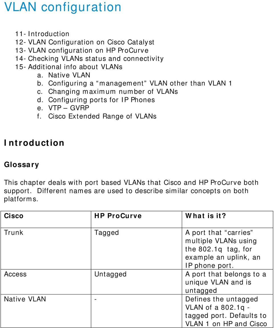 Cisco Extended Range of VLANs Introduction Glossary This chapter deals with port based VLANs that Cisco and HP ProCurve both support.