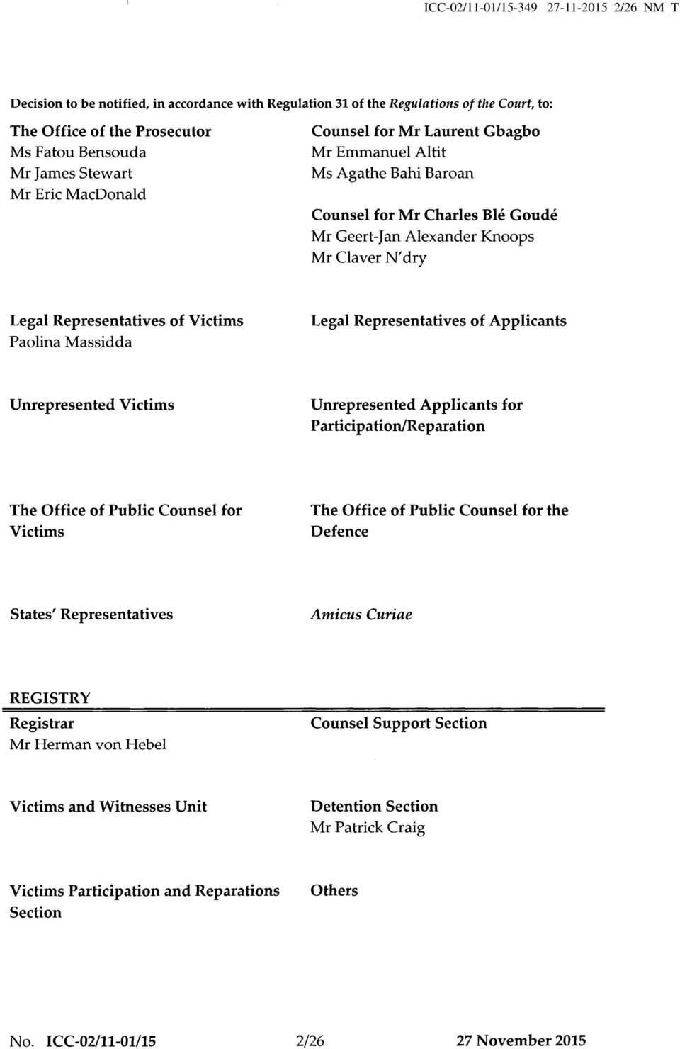 Paolina Massidda Legal Representatives of Applicants Unrepresented Victims Unrepresented Applicants for Participation/Reparation The Office of Public Counsel for Victims The Office of Public Counsel