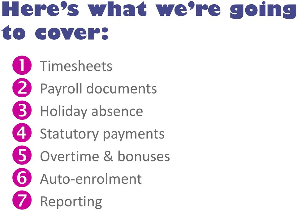 Holiday absence Statutory payments