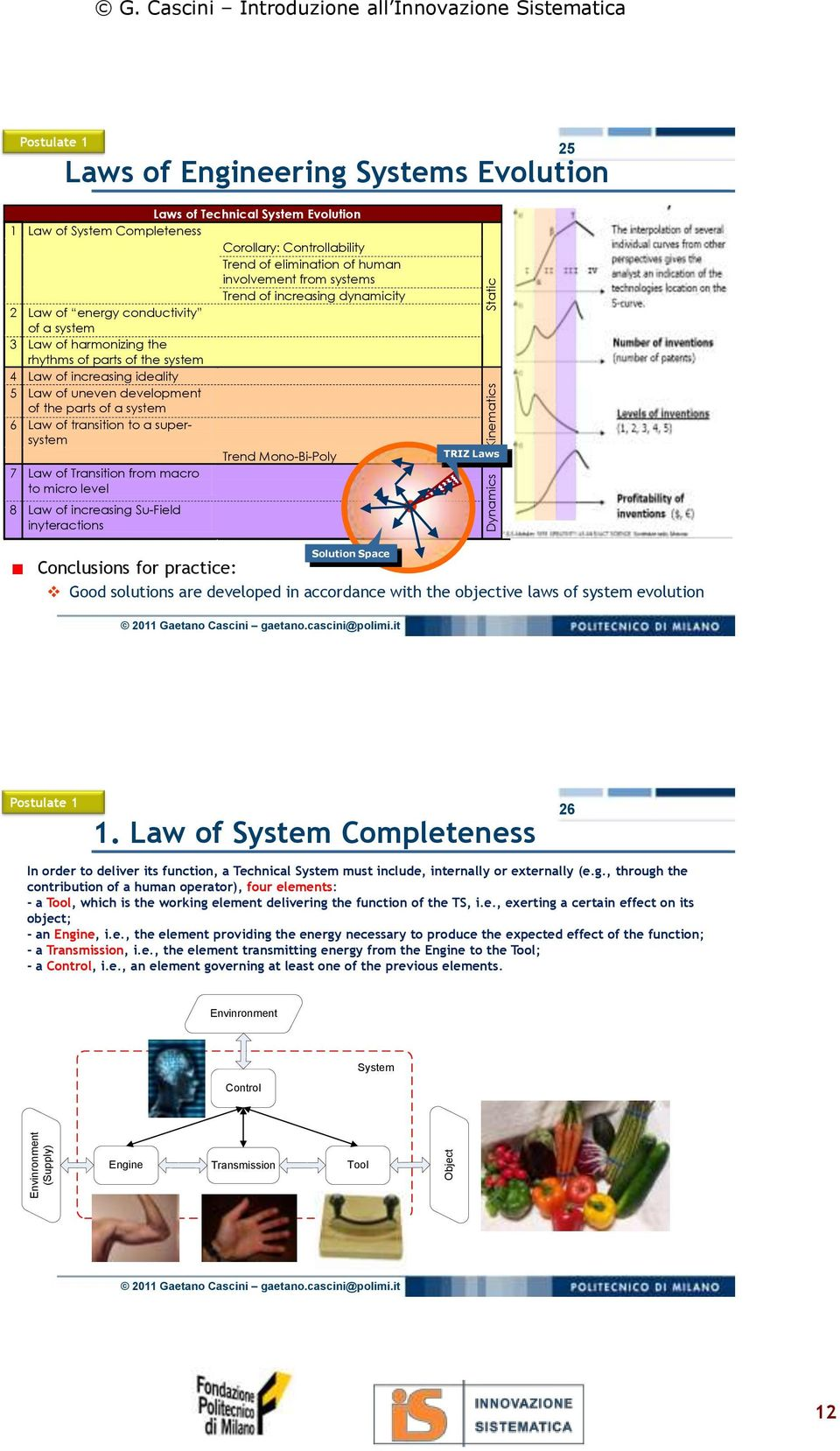 of elimination of human involvement from systems Trend of increasing dynamicity 2 Law of energy conductivity of a system 3 Law of harmonizing the rhythms of parts of the system 4 Law of increasing