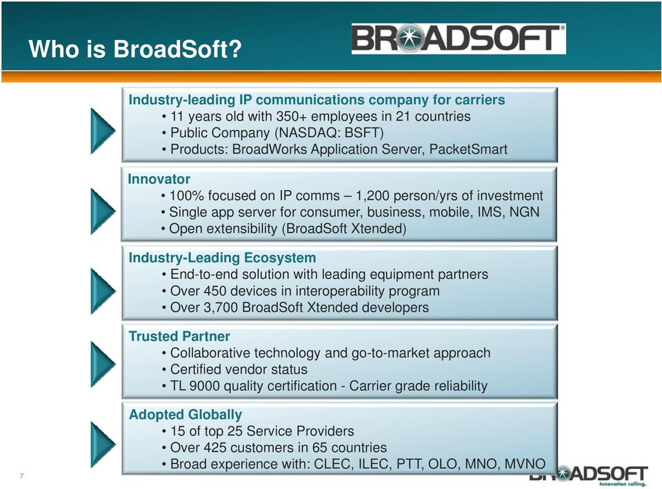 100% focused on IP comms 1,200 person/yrs of investment Single app server for consumer consumer, business business, mobile mobile, IMS IMS, NGN Open extensibility (BroadSoft Xtended) Industry-Leading