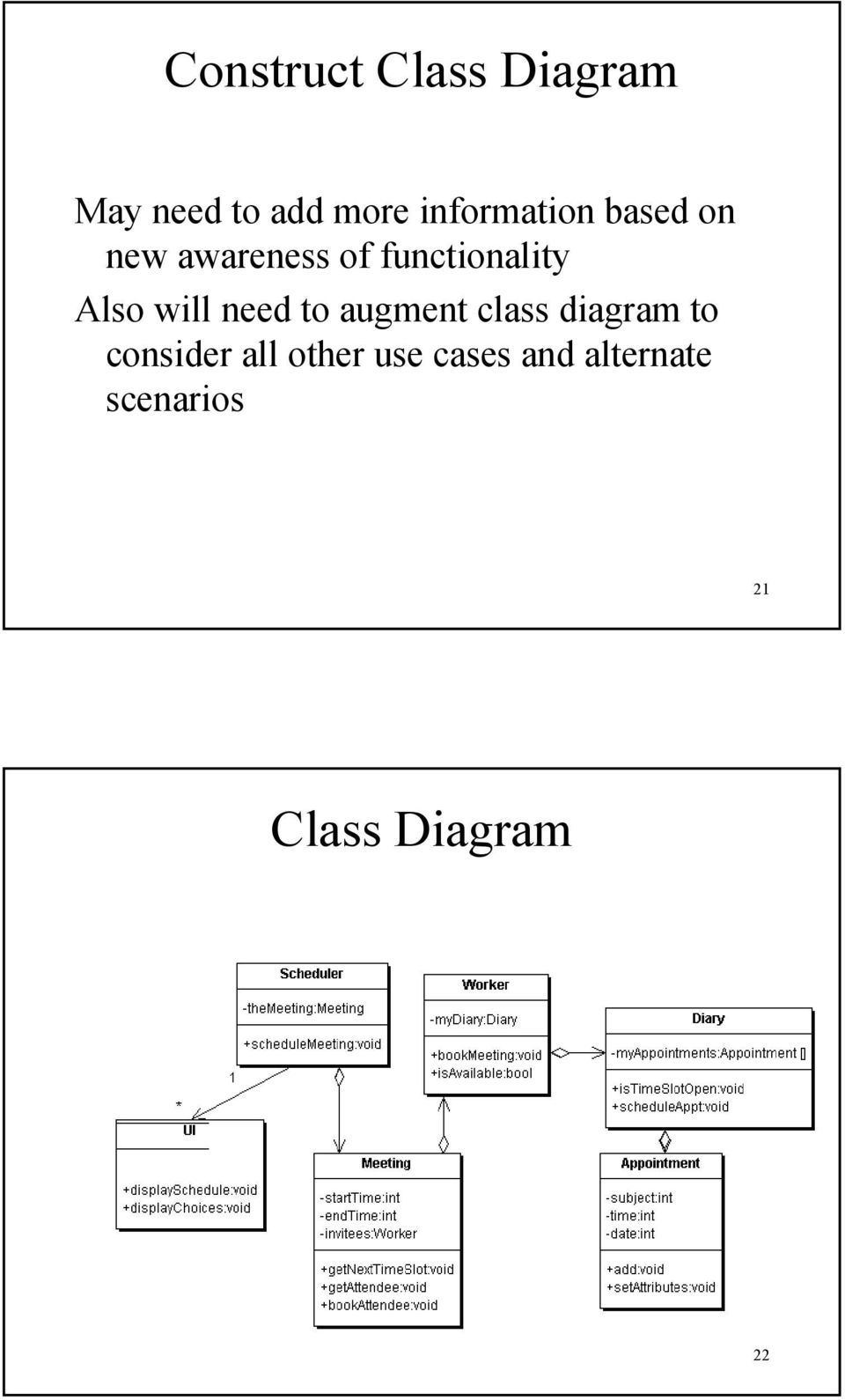 Also will need to augment class diagram to consider