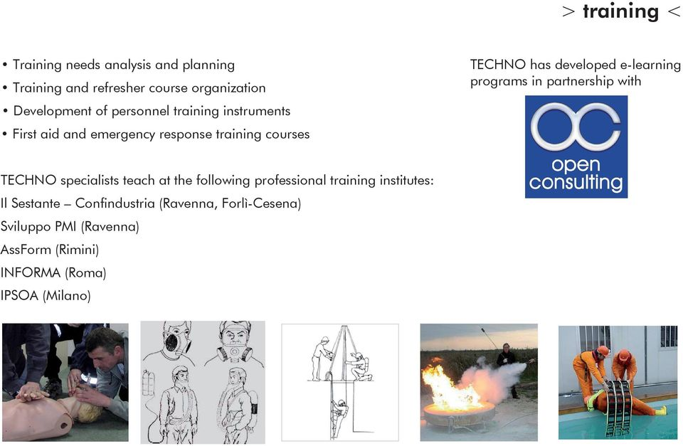 e-learning programs in partnership with TECHNO specialists teach at the following professional training