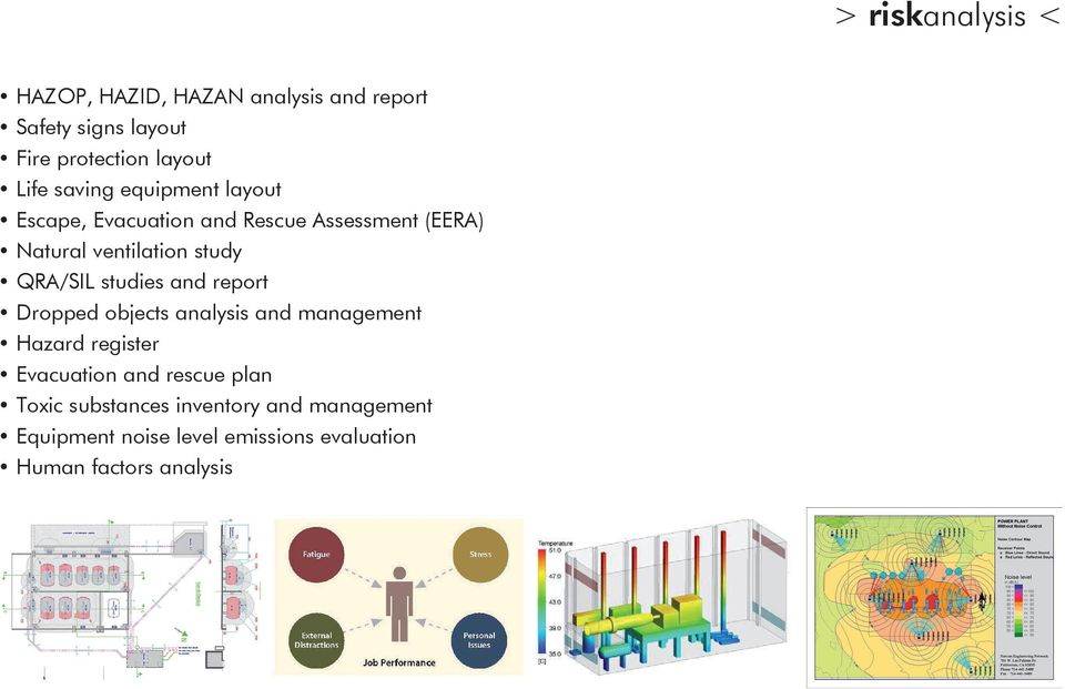 QRA/SIL studies and report Dropped objects analysis and management Hazard register Evacuation and rescue