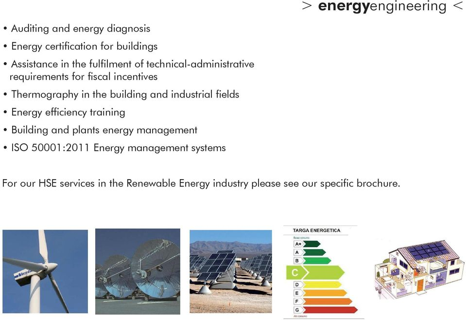 and industrial fields Energy efficiency training Building and plants energy management ISO 50001:2011