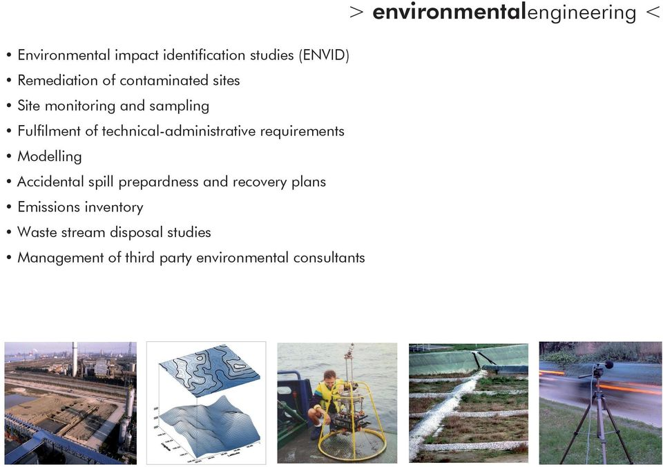 Modelling Accidental spill prepardness and recovery plans Emissions inventory Waste