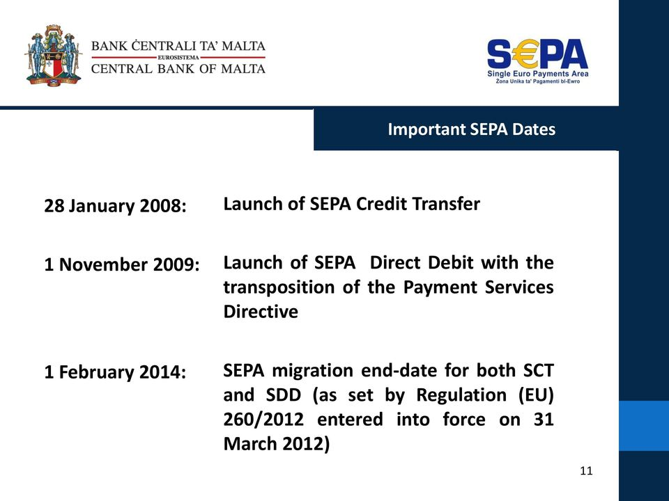 Payment Services Directive 1 February 2014: SEPA migration end-date for both