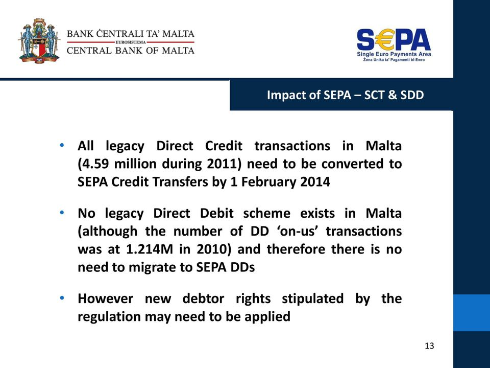 Direct Debit scheme exists in Malta (although the number of DD on-us transactions was at 1.