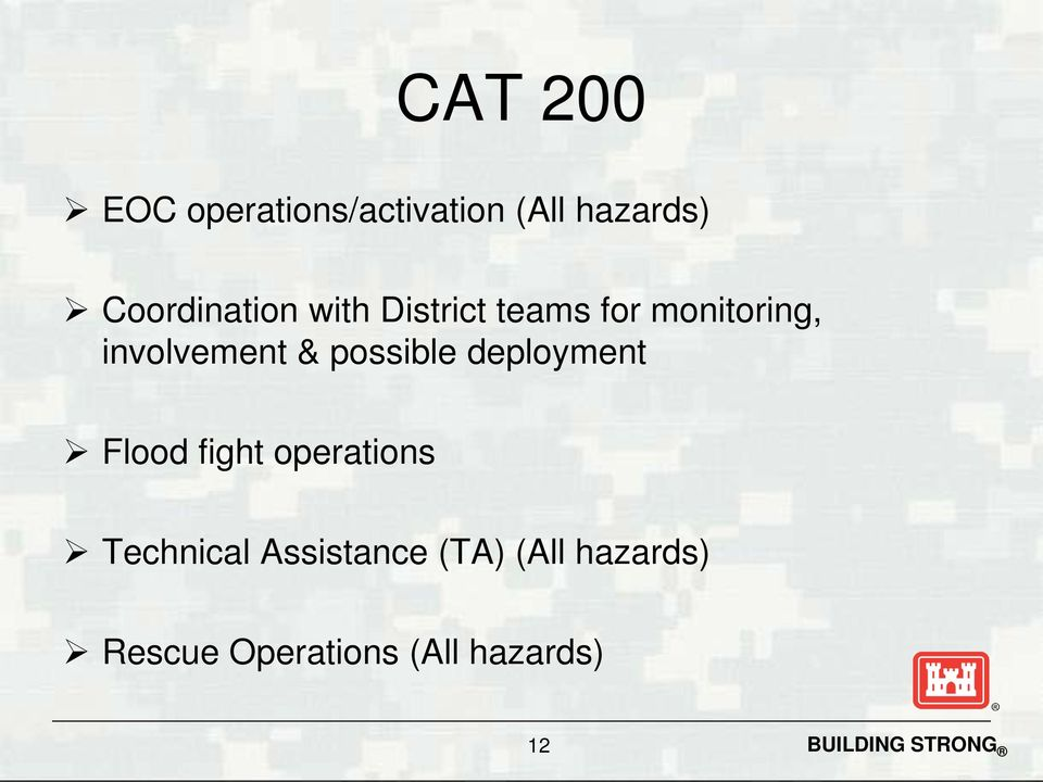involvement & possible deployment Flood fight operations