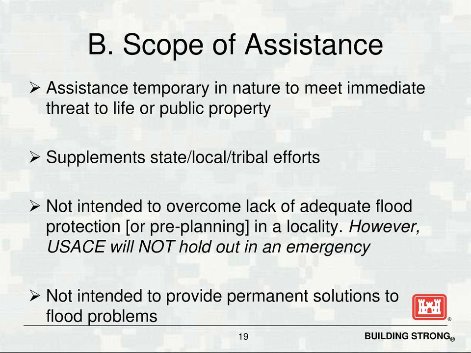 of adequate flood protection [or pre-planning] in a locality.
