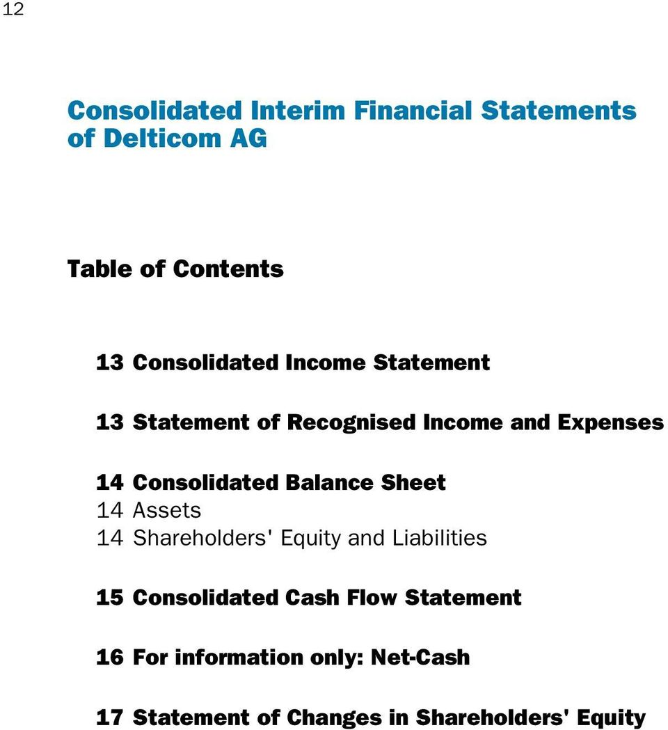Consolidated Balance Sheet 14 Assets 14 Shareholders' Equity and Liabilities 15