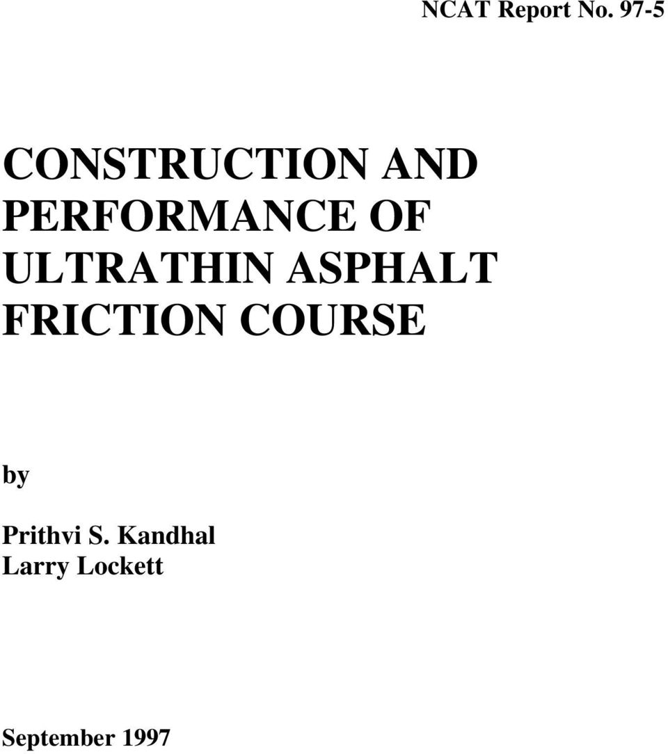 OF ULTRATHIN ASPHALT FRICTION