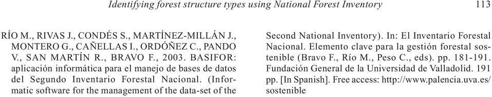 (Informatic software for the management of the data-set of the Second National Inventory). In: El Inventario Forestal Nacional.