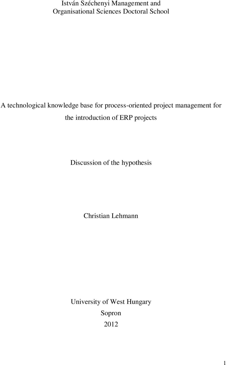 management for the introduction of ERP projects Discussion of the