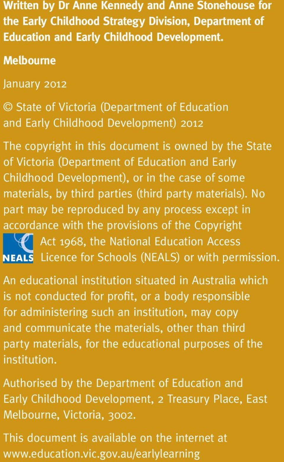 Early Childhood Development), or in the case of some materials, by third parties (third party materials).