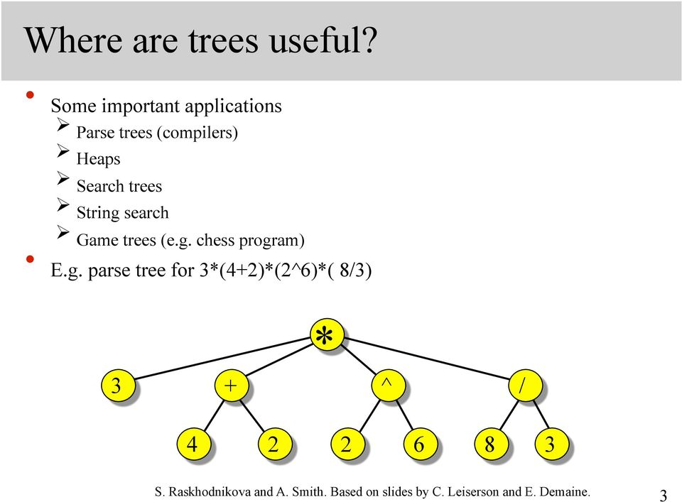 String search Game trees (e.g. chess program) E.g. parse tree for 3*(4+2)*(2^6)*( 8/3) * 3 + ^ / 4 2 2 6 8 3 S.