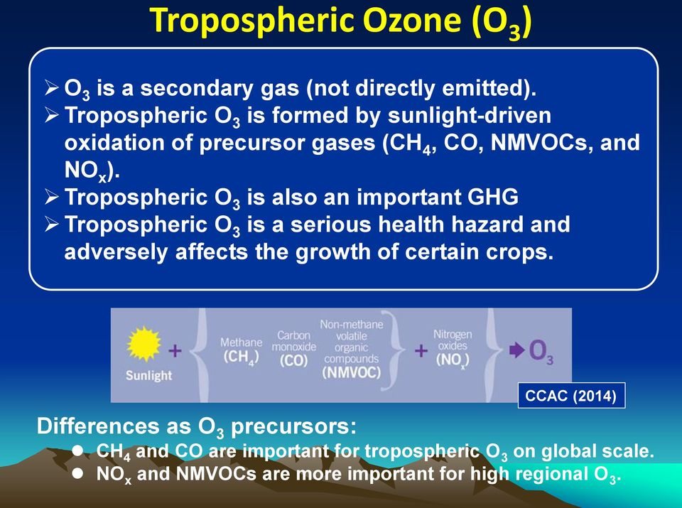 Tropospheric O 3 is also an important GHG Tropospheric O 3 is a serious health hazard and adversely affects the growth