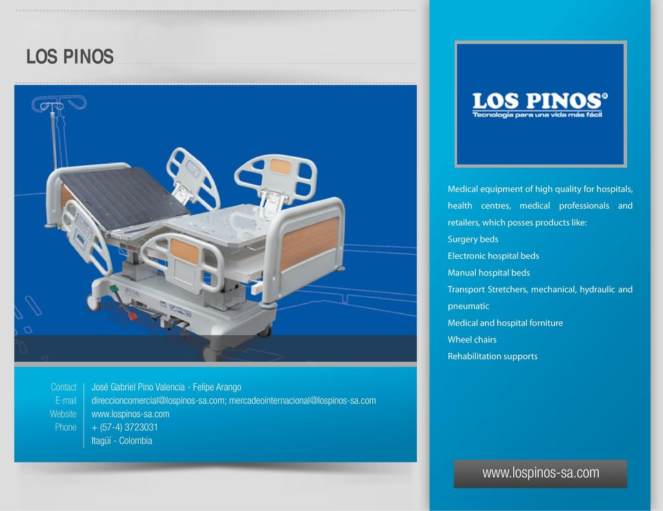 pneumatic Medical and hospital forniture Wheel chairs Rehabilitation supports José Gabriel Pino Valencia - Felipe Arango