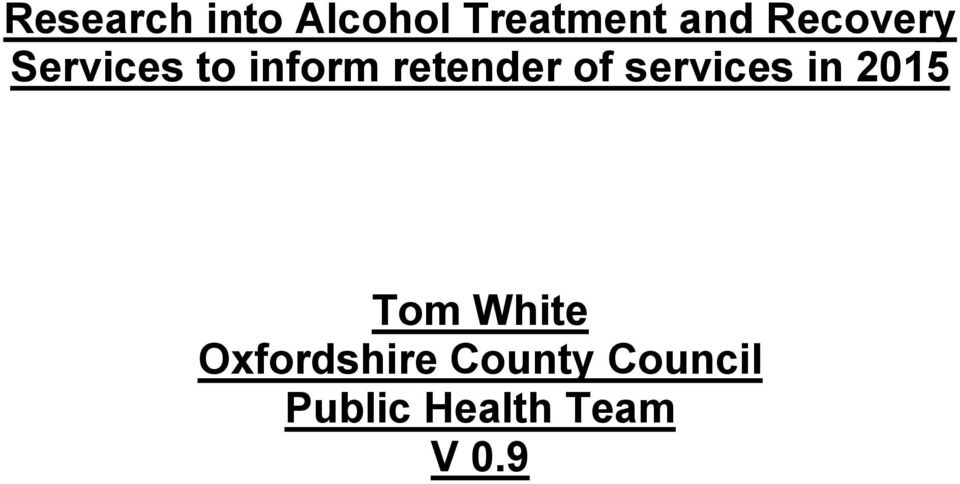 of services in 2015 Tom White