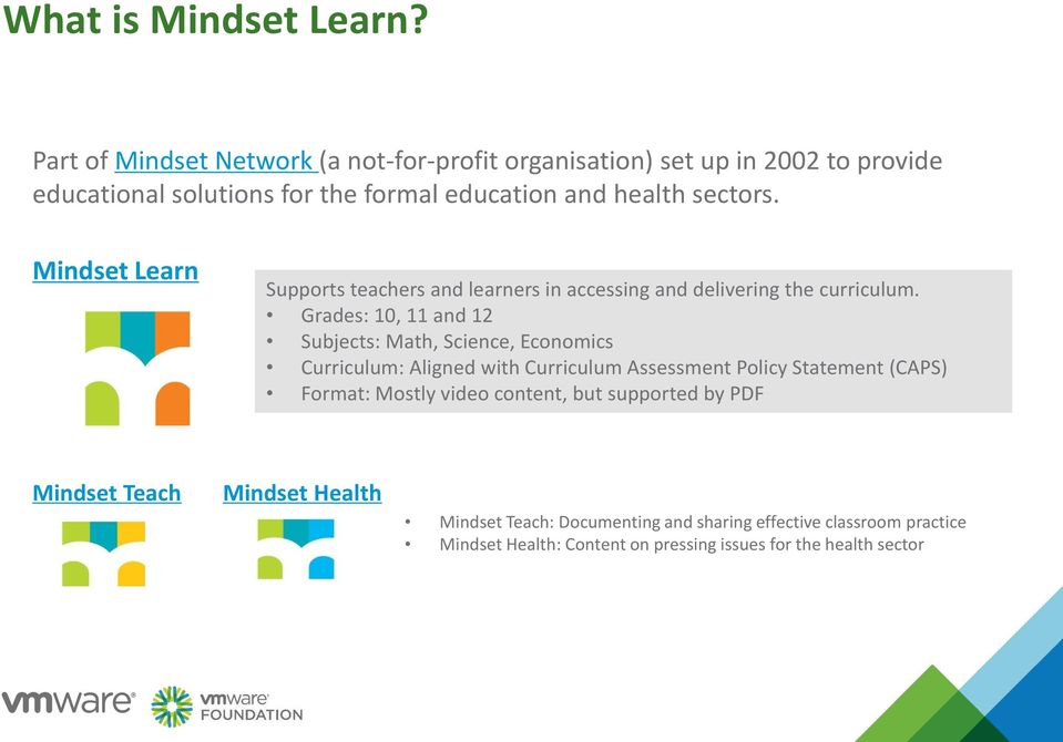 Mindset Learn Supports teachers and learners in accessing and delivering the curriculum.