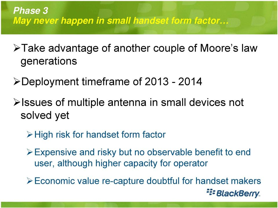 solved yet High risk for handset form factor Expensive and risky but no observable benefit to end