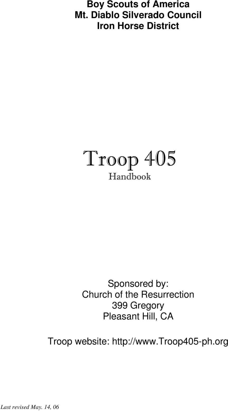 Handbook Sponsored by: Church of the Resurrection 399