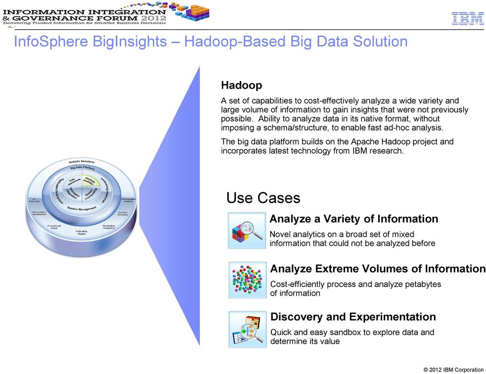 The big data platform builds on the Apache Hadoop project and incorporates latest technology from IBM research.