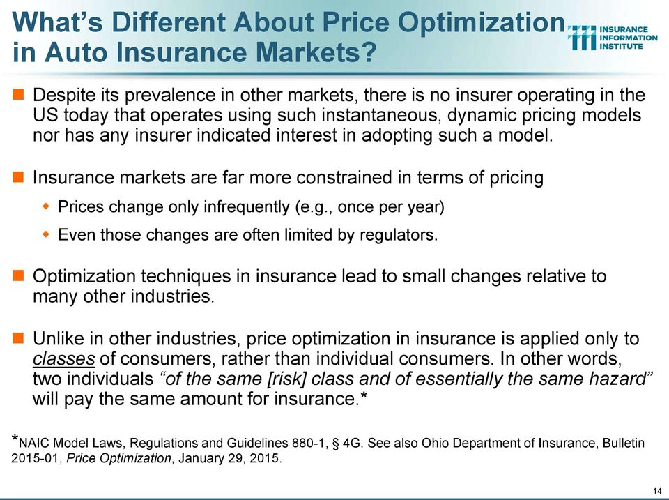 adopting such a model. Insurance markets are far more constrained in terms of pricing Prices change only infrequently (e.g., once per year) Even those changes are often limited by regulators.