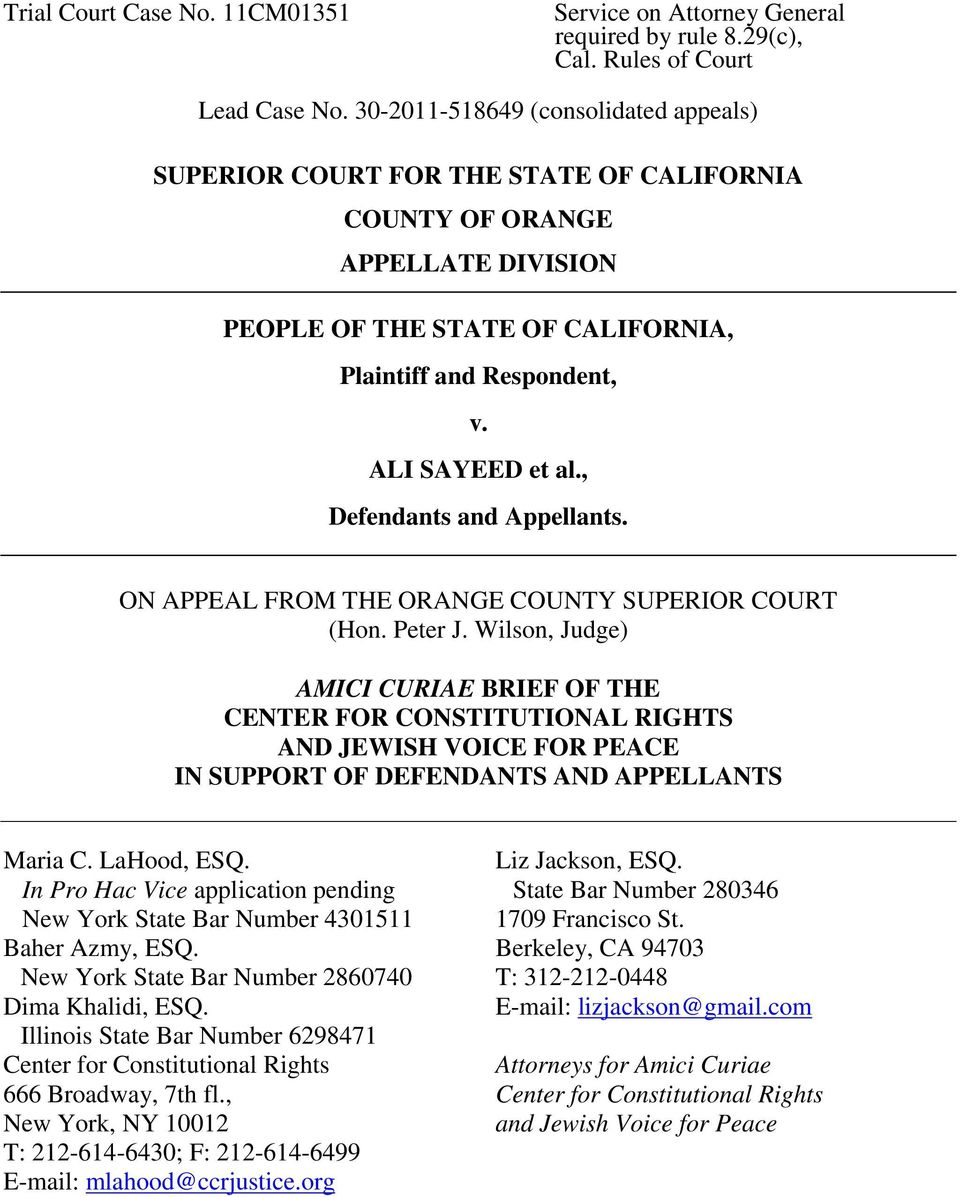 , Defendants and Appellants. ON APPEAL FROM THE ORANGE COUNTY SUPERIOR COURT (Hon. Peter J.