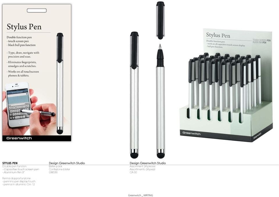 display touch - penna in alluminio Cm 12 Blister pack Confezione blister