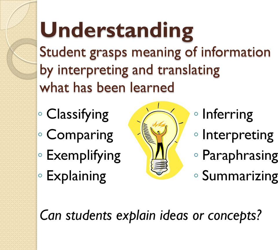 Classifying Comparing Exemplifying Explaining Inferring