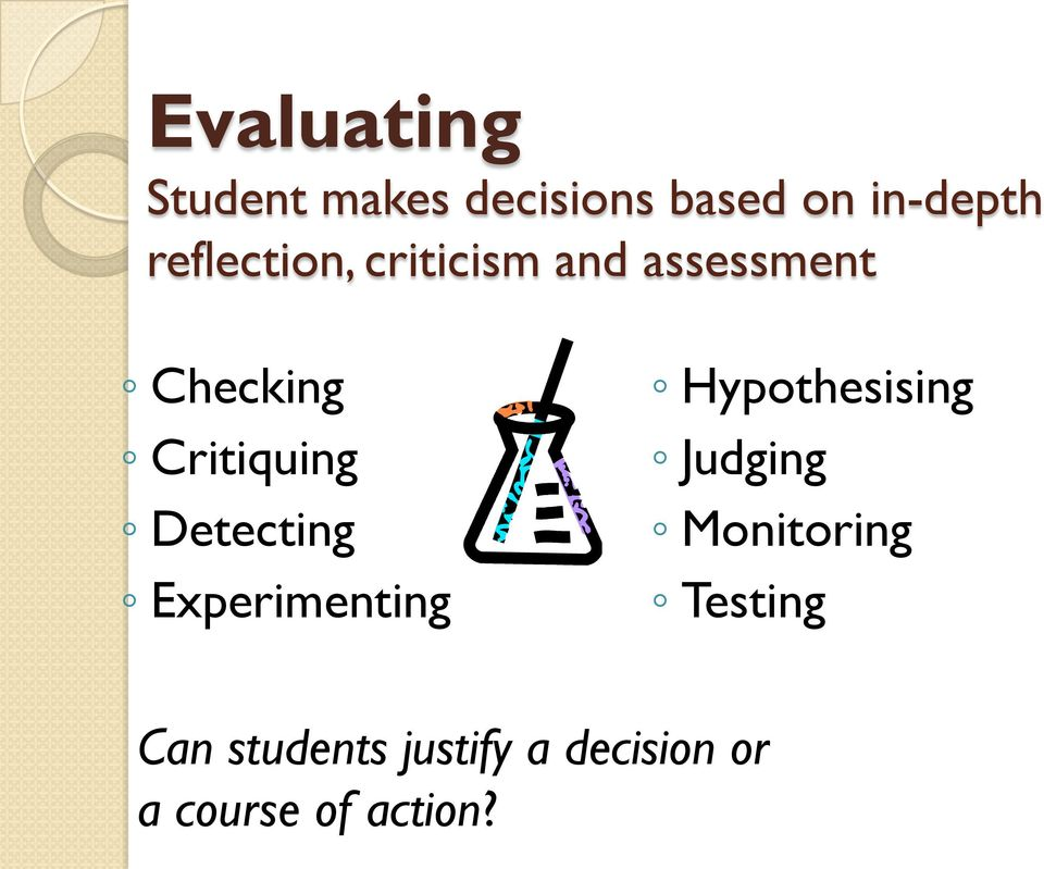 Detecting Experimenting Hypothesising Judging Monitoring