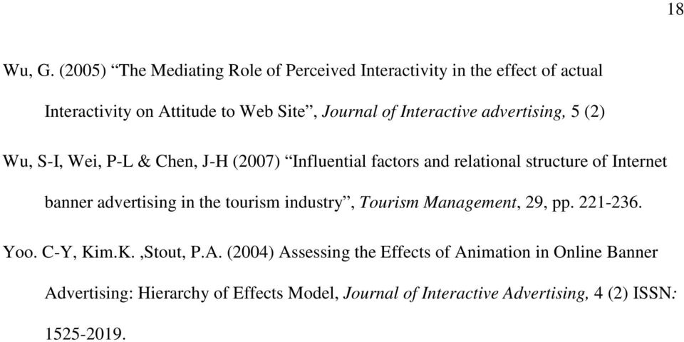 Interactive advertising, 5 (2) Wu, S-I, Wei, P-L & Chen, J-H (2007) Influential factors and relational structure of Internet banner