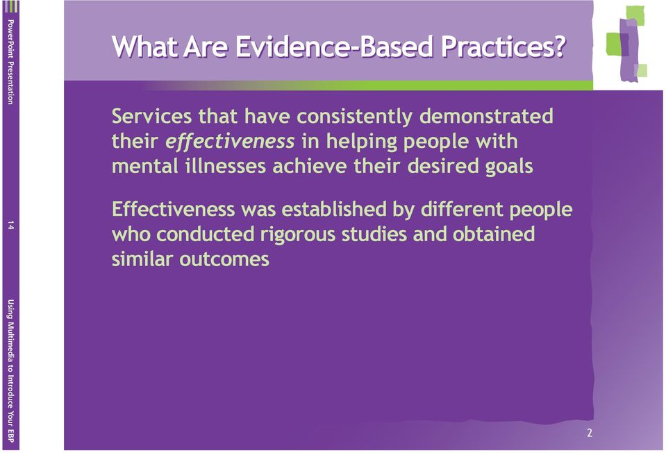 Services that have consistently demonstrated their effectiveness in helping people