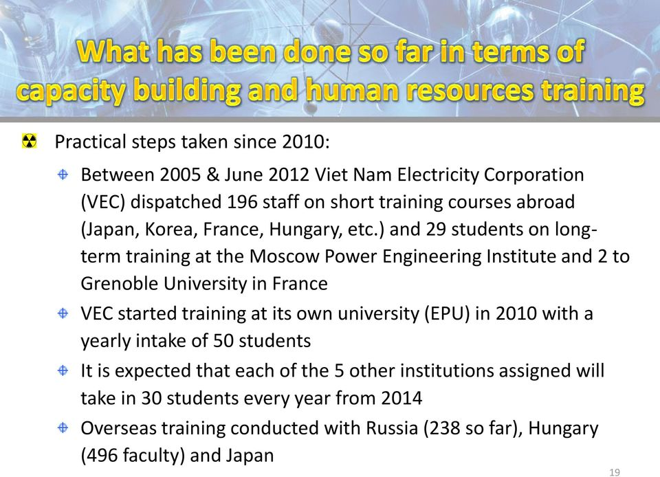 ) and 29 students on longterm training at the Moscow Power Engineering Institute and 2 to Grenoble University in France VEC started training at its