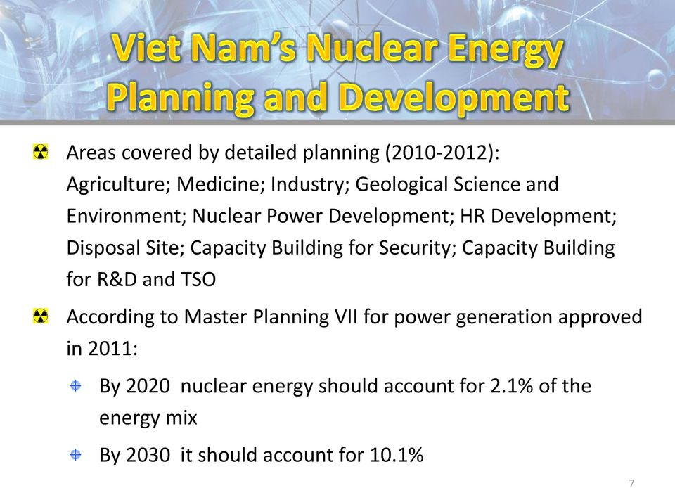 Capacity Building for R&D and TSO According to Master Planning VII for power generation approved in