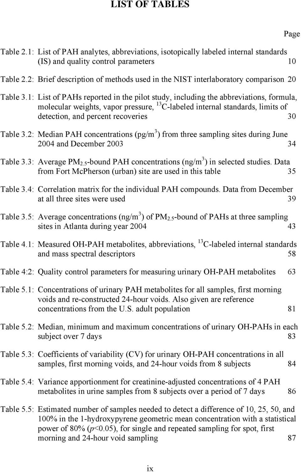 1: List of PAHs reported in the pilot study, including the abbreviations, formula, molecular weights, vapor pressure, 13 C-labeled internal standards, limits of detection, and percent recoveries 30