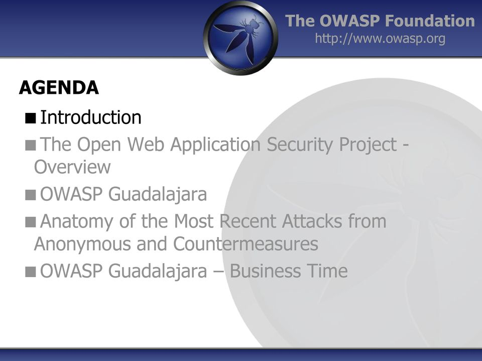Project - Overview OWASP Guadalajara Anatomy of the Most