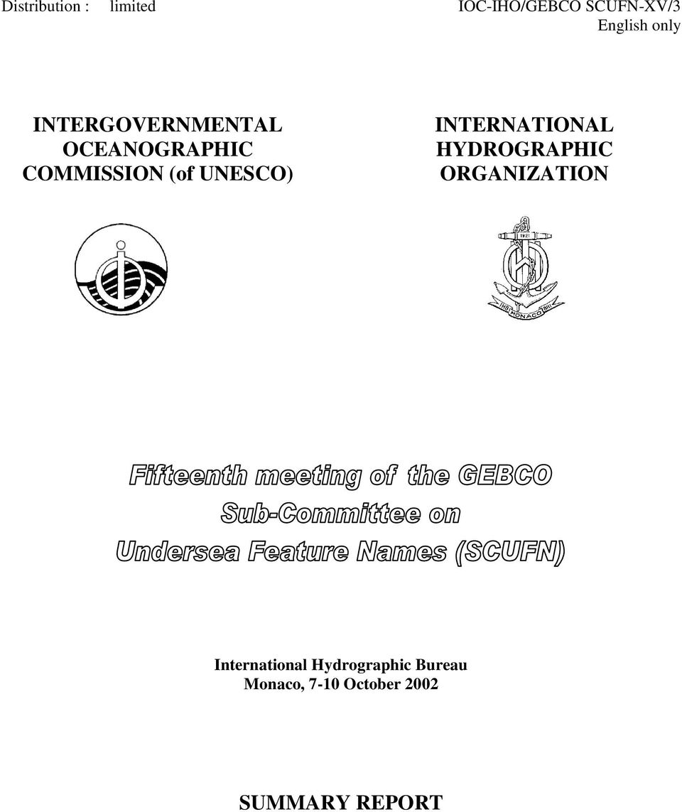 UNESCO) INTERNATIONAL HYDROGRAPHIC ORGANIZATION