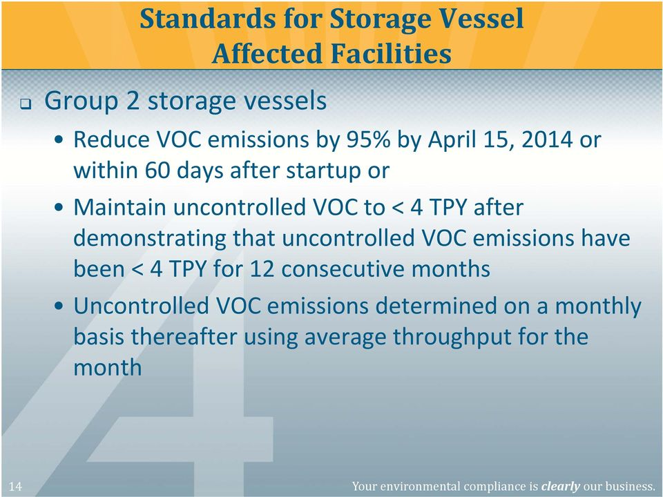 uncontrolled VOC emissions have been < 4 TPY for 12 consecutive months Uncontrolled VOC emissions determined on