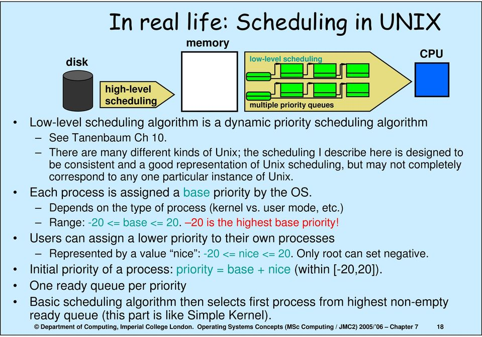 There are many different kinds of Unix; the scheduling I describe here is designed to be consistent and a good representation of Unix scheduling, but may not completely correspond to any one