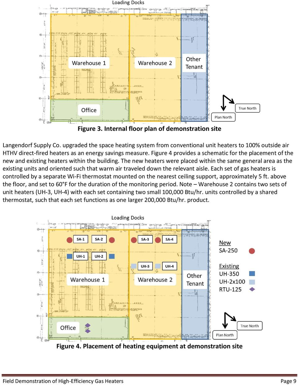 Figure 4 provides a schematic for the placement of the new and existing heaters within the building.